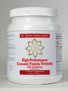 Coconut protein, hydrolyzed collagen, and colostrum plus cofactor vitamins and minerals.